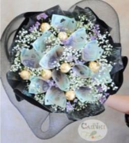 Bó hoa sinh nhật bằng tiền Q581